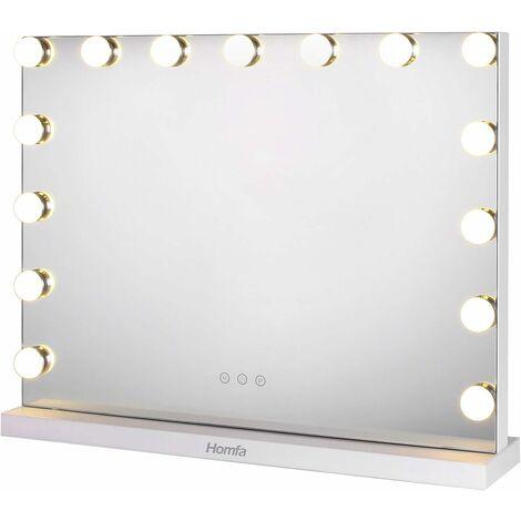 "main image of ""MVpower Hollywood Espejo de maquillaje con iluminación LED táctil ajustable con 3 tipos de luces Espejo de maquillaje iluminado Espejo rectangular de sobremesa Maquillaje Baño Blanco [Clase de eficiencia energética A]"""