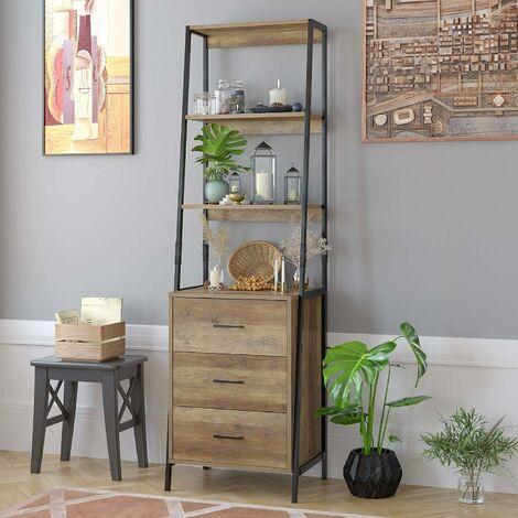 MVPOWER Librería, Unidad de almacenamiento, con 3 estantes y 3 cajones en tela marrón 51x175x40 cm