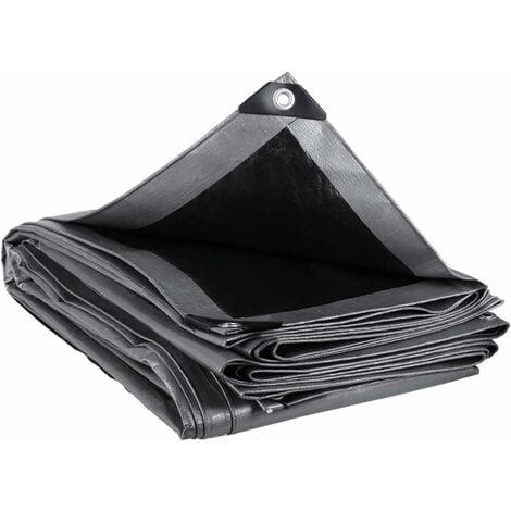 """main image of """"MVPower Lona Impermeable Exterior con Ojales, Protección Solar y Resistente a la Rotura para Muebles de Jardín, Camping, Madera, Piscina, Vehículos y Barcos, 280g / m² Gris-negro 4x5m"""""""