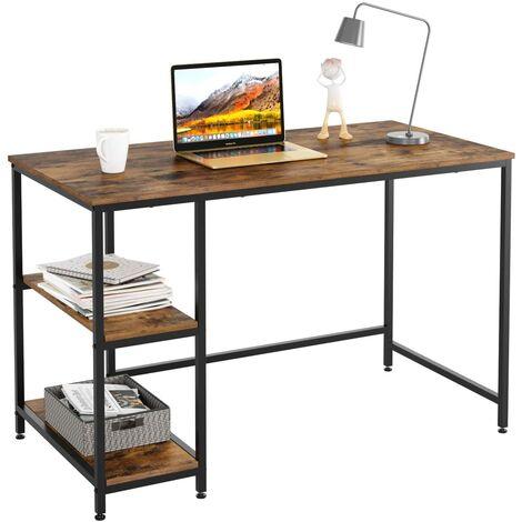 MVPOWER Mesa de escritorio para ordenador Mesa de ordenador con estantes Mesa de oficina Mesa de trabajo Madera Metal Vintage Negro Diseño industrial 120x60x76cm (L x W x H)