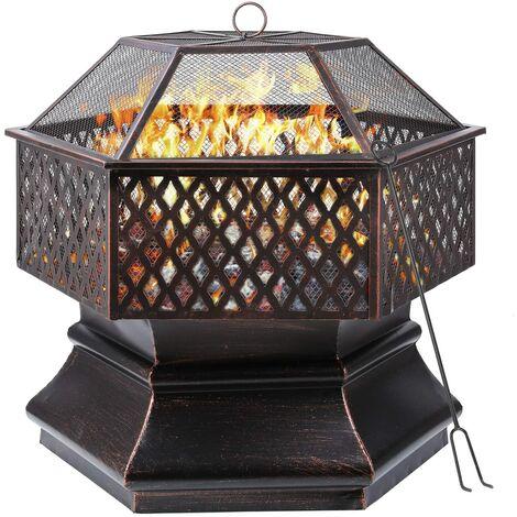MVPOWER - Parrilla para jardín, pozo de fuego hexagonal de acero al aire libre, pozo de fuego al aire libre de 30 pulgadas con cubierta de malla ignífuga, chimenea / pozo de fuego para jardín, patio, patio, patio trasero, piscina