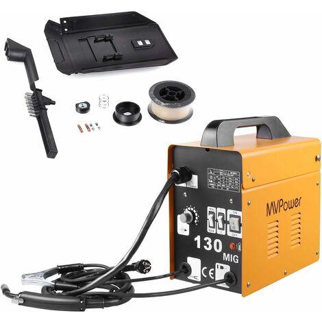 MVPower Poste à souder inverter MIG130, soudeuse à électrode, appareil de soudage professionnel, 120 A 230 V, poste à souder inverter avecfil