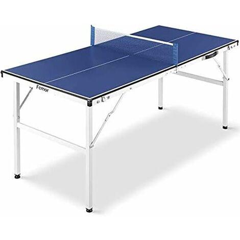 MVPOWER Table de Ping Pong Pliable/Housse Table de Tennis, Exterieur et Interieur, Mini Table de Ping Pong Pliante avec Filet, Hauteur Réglable, Facile à Ranger,150 x 70 x 67 cm/165×70×185 cm,Bleu/Noir