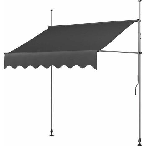 MVPower Toldo Articulado con Armazón, Terraza Balcón Toldo Extensible, Resistente a Los Rayos UV,300 x 120 cm, Gris