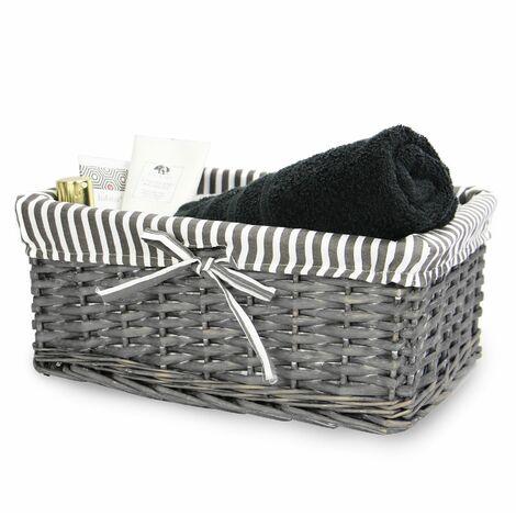 M&W Grey Wicker Baskets Medium