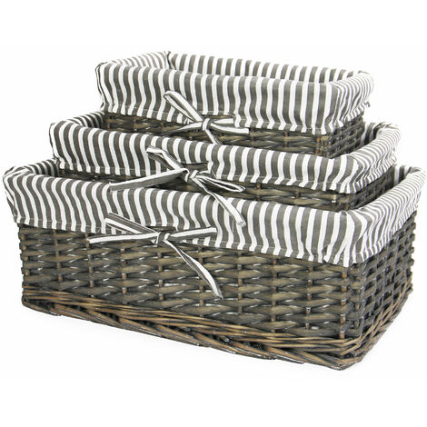 M&W Grey Wicker Baskets Set of 3