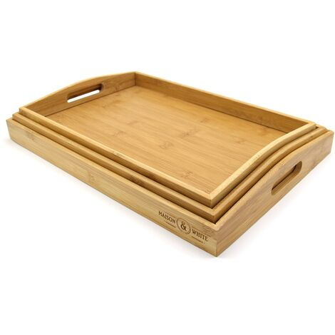 M&W Set Of 3 Bamboo Serving Trays