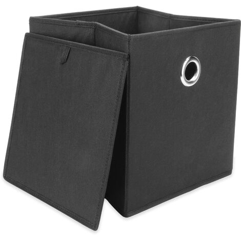 M&W Set Of 6 Collapsible Storage Boxes Black