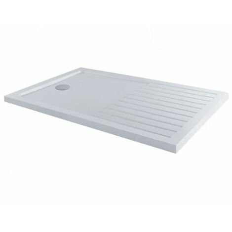 MX Elements Rectangular Anti-Slip Walk-In Shower Tray with Waste 1400mm x 900mm - White
