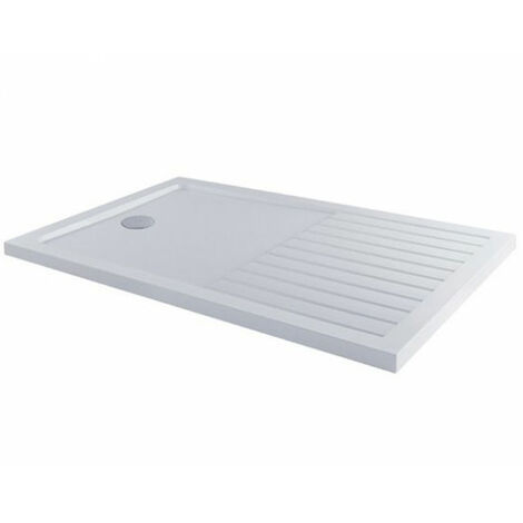 MX Elements Rectangular Anti-Slip Walk-In Shower Tray with Waste 1600mm x 800mm - White