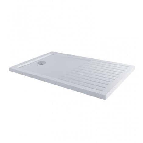 MX Elements Rectangular Walk-In Shower Tray with Waste 1600mm x 800mm - White