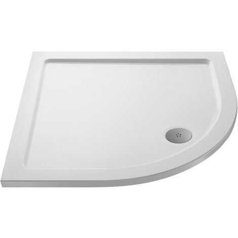 MX Low Profile 1000mm Quadrant Shower Tray & Waste - size 1000mm - color White