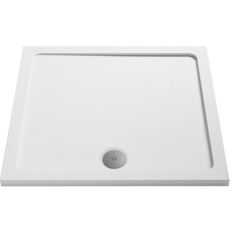 MX Low Profile 1000mm Square Shower Tray & Waste - size 1000mm - color White