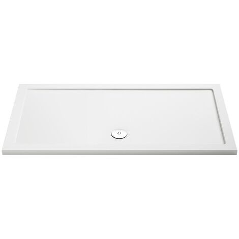 MX Low Profile 1600mm x 760mm Rectangular Shower Tray & Waste - size 1600 x 760mm - color White
