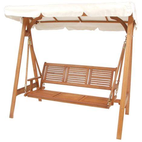 Altalena dondolo per esterno in legno 3 posti arredo giardino RUSTICO LEGNO