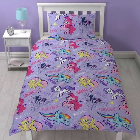 My Little Pony Movie Official Adventure Reversible Single Duvet Cover Set (One Size) (Purple)