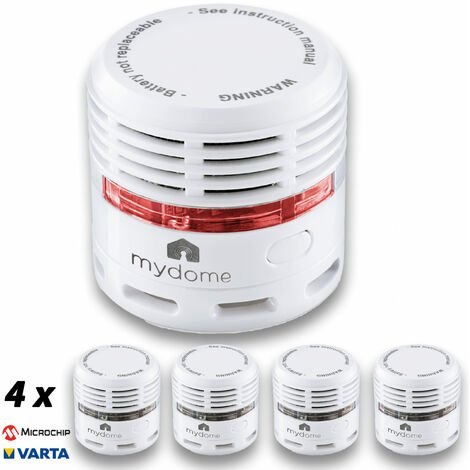 Mydome Twin Pack Smoke alarm and Fire Alarm | 10 Year Battery Operated, Thermally Enhanced, Loud Optical Smoke Detector With LED Indicator, Built For Quick Smoke Detection and Early Fire Prevention (Helsinki)