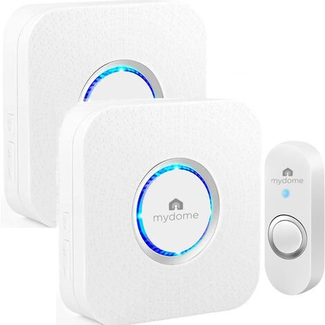 Mydome Wireless Doorbell | Plugin Chime Kit, Designed for UK Homes with Solid Walls, Built for The UK Weather, Clear Audio & Visual Notification (Arctic Square II)