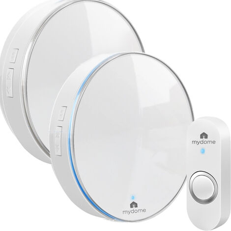Mydome Wireless Doorbell | Plugin Chime Kit, Designed for UK Homes with Solid Walls, Built for The UK Weather, Clear Audio & Visual Notification (Polar Aura II)