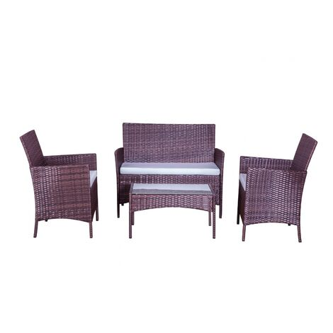 Mykonos marron/blanc : salon de jardin 4 places en résine tressée