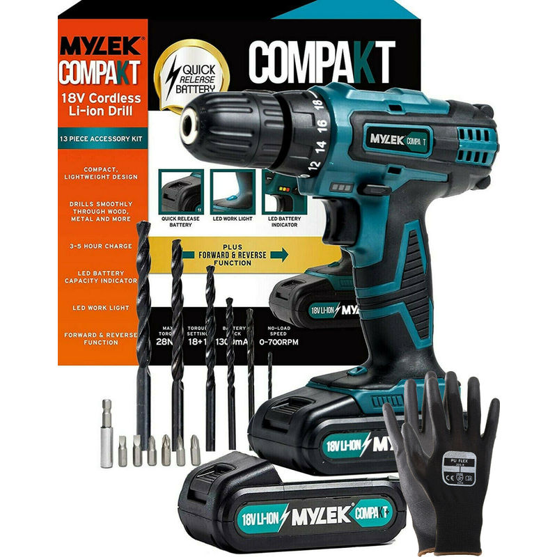 Image of Mylek 18V LI-ION Cordless Drill + Spare LI-ION Battery + Gloves