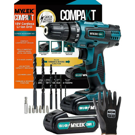 Mylek 18V LI-ION Cordless Drill + Spare LI-ION Battery + Gloves