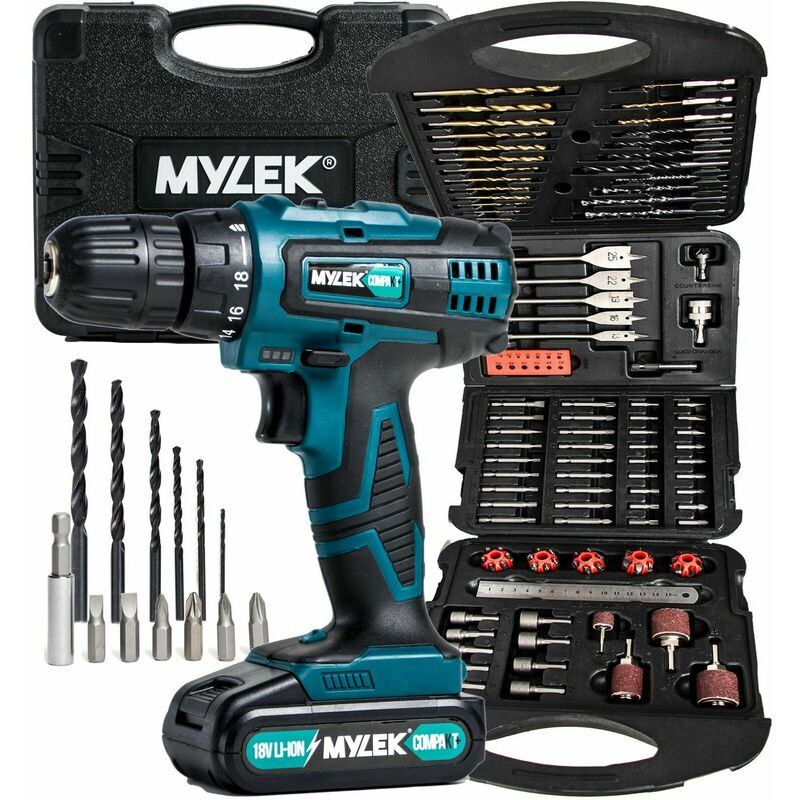 Image of Mylek 18V Quick Charge Drill & 131 Piece Accessory set