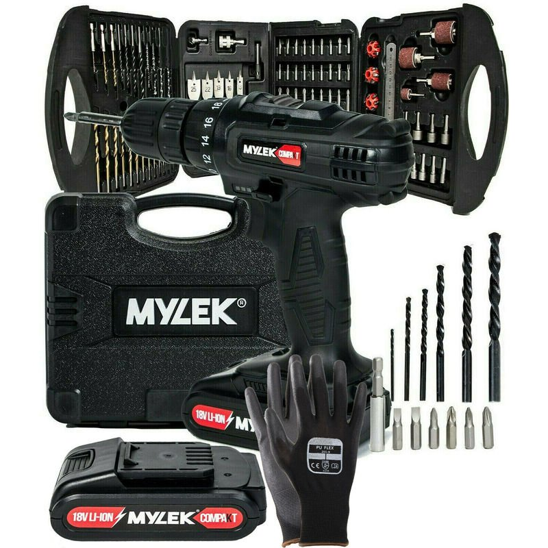 Image of MYLEK Black 18V Li-ion Cordless Drill 2 Speed with 131 Piece Accessory Set & Spare Battery
