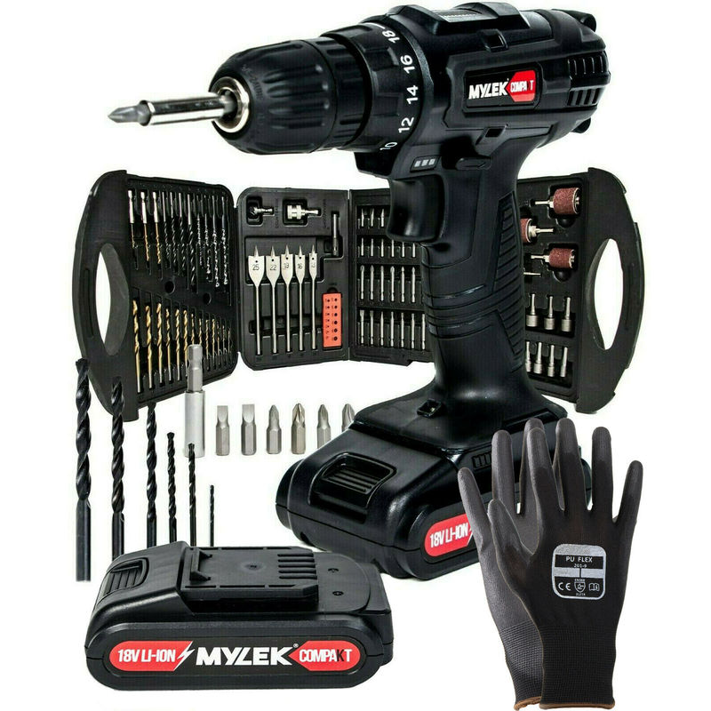 Image of MYLEK Black 18V Li-ion Cordless Drill with 131 Accessory Set and 2 Lithium Ion Batteries