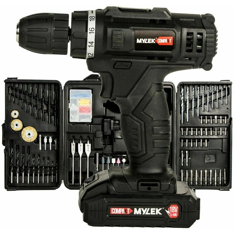 Image of Mylek Compakt 18V Cordless Drill Screwdriver Lithium Ion with 151 Piece Accessory Kit