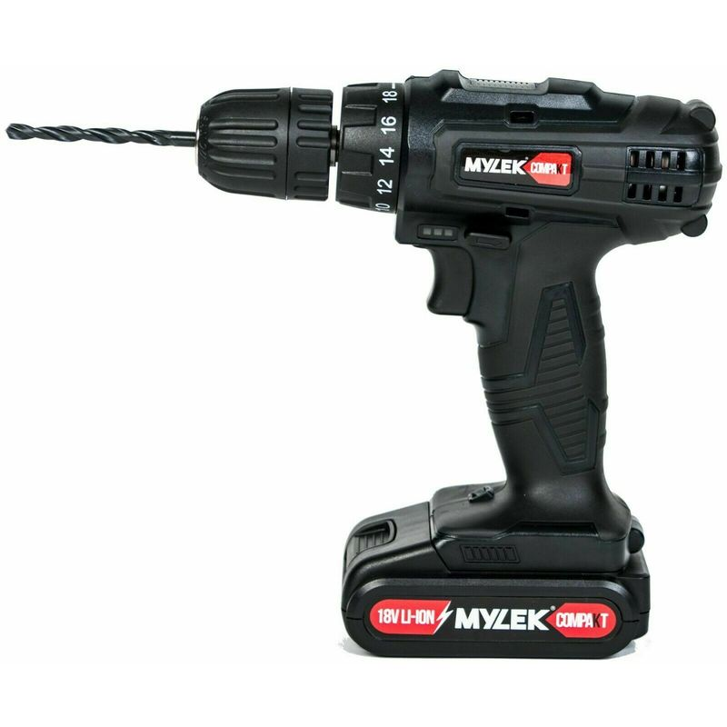 Image of Mylek Compakt 18V Drill & 13 Piece Accessory Set