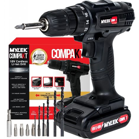 MYLEK LI-ION 18V Cordless Drill with 13 Piece Accessory Kit