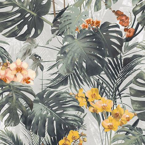 Myriad Palm Wallpaper Grandeco Floral White Yellow Green Textured Tropical