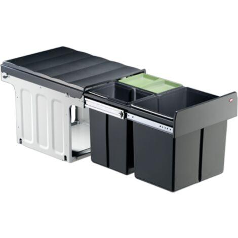 Naber Wesco Einbau-Abfallsammler Profiline Trio Master 40DT - 32 Liter (16 + 2x8 Liter), anthrazit/ silber, ab 40er Schrankbreite, mit Vollauszug