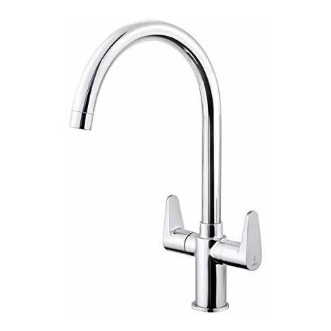 "Nabis"" Monate"" Modern Swing Contemporary Swivel Spout Kitchen Sink Mixer Tap | Polished Chrome | Ceramic Disc Valve"