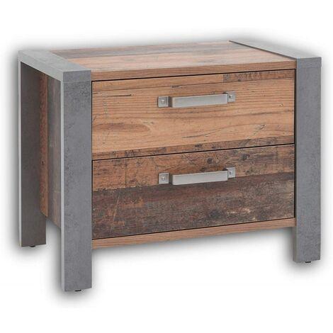 """Nachtkommode Nachttisch Bettkommode Nachtschrank MICHEL Old Style dunkel / Beton Grau-""""SW15918"""""""