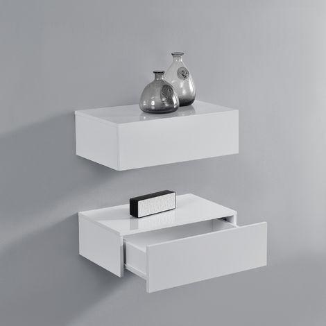 Nachtschrank Oslo 2er Set 46x30x15 cm Wandschrank mit Schublade Weiß Hochglanz