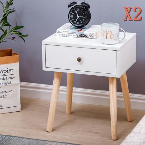 Nachttisch 2 Stk.  Nachtschrank Beistelltisch für Wohnzimmer Balkon Flur -40x30x50cm Weiß