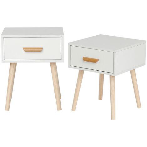 Nachttisch, 2er-Set, Nachttisch, mit Schubladen, MDF, Weiß