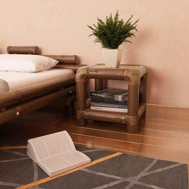 Zqyrlar - Nachttisch 40×40×40 cm Bambus Dunkelbraun