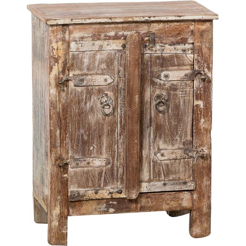 Nachttisch aus Massivholz (Altholz) mit antikiertem Finish L44XPR24,5xH56 cm. - BISCOTTINI
