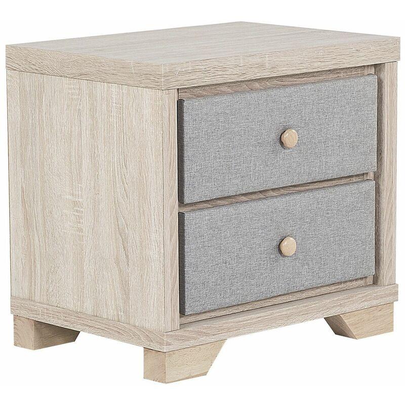Nachttisch Heller Holzfarbton Grau MDF Platte Polyester Eichenholz 52 x 55 x 40 cm Modern Praktisch Viel Stauraum 2 Schubladen Schlafzimmer - BELIANI