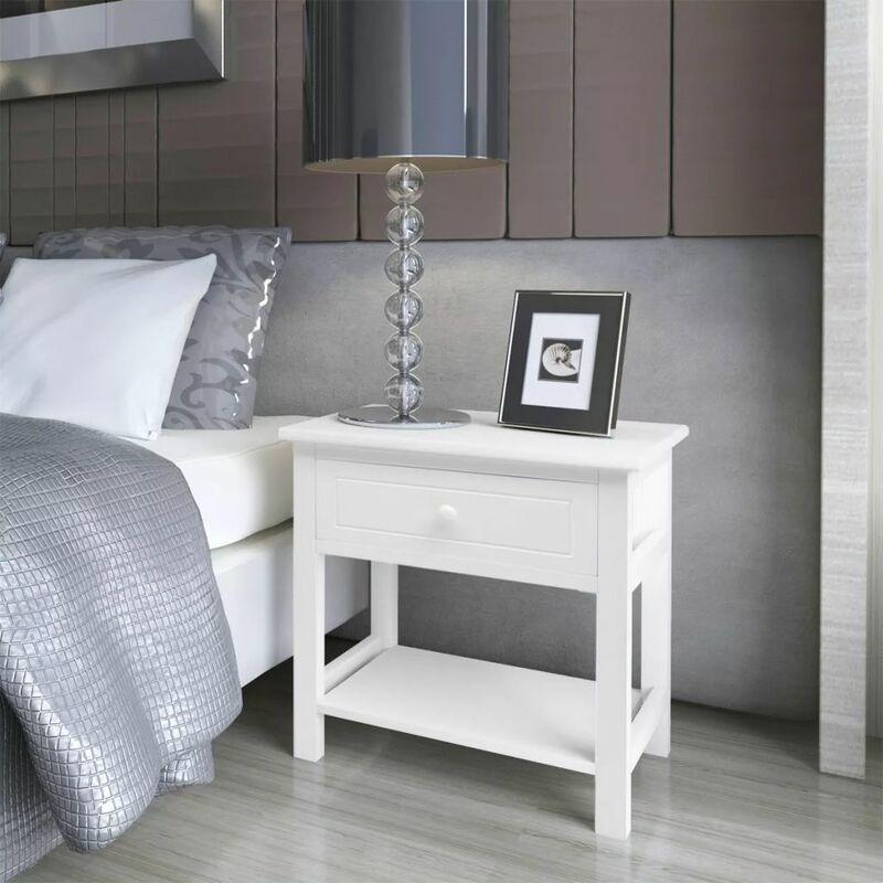 Nachttisch Holz 2 Stk. Weiß - ZQYRLAR