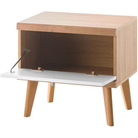 Nachttisch MAINZ-61 Eiche Riviera Nb./weiß matt, scandi Style, B/H/T ca. 54x50x40 cm