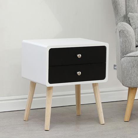 Nachttisch mit 2 Schublade Nachtschrank Nachttisch Telefontisch Massivholz 42x32x50cm Schwarz+Weiß