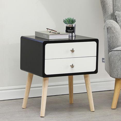 Nachttisch mit 2 Schublade Nachtschrank Nachttisch Telefontisch Massivholz 42x32x50cm Weiß+Schwarz