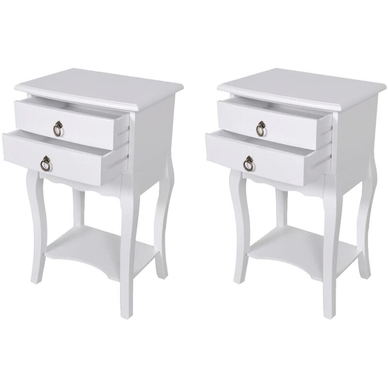 Vidaxl - Nachttisch mit 2 Schubladen Weiß 2 Stk.