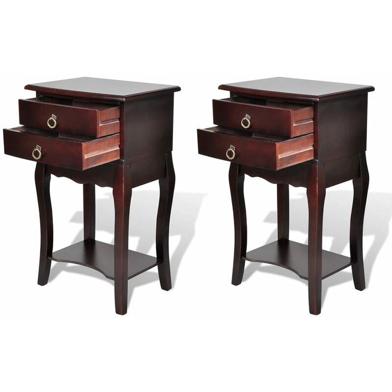 Nachttisch mit 2 Schubladen Braun 2 Stk. - VIDAXL
