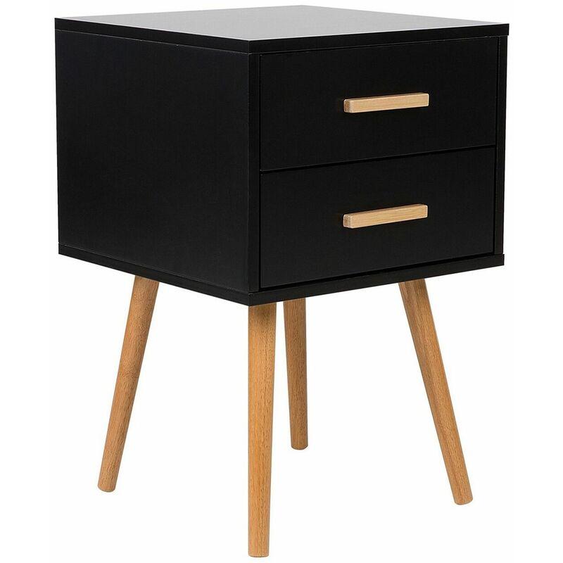 Nachttisch Schwarz mit Braun 2 Schubladen aus MDF Platte und Gummibaumholz Modern - BELIANI
