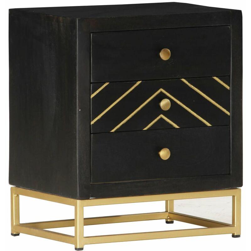 Nachttisch Schwarz und Golden 40 x 30 x 50 cm Mango Massivholz